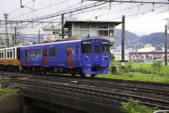 19 08 2015 Nagasaki Japonia Pociąg od Nagasaki Nagasaki pociąg Obraz Royalty Free