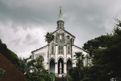 Nagasaki, Kyushu, Japan - Oct 7 2017: Basilica of the Twenty-Six Holy Martyrs of Japan. Also Ōura Church, or Ōura Tenshudō. stock photo