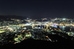 Nagasaki Night View. There is an observation platform that is popular with tourists as it provides spectacular views of Nagasaki's 10 Million Dollar Night View royalty free stock photo