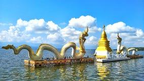Nagastandbeelden en pagoden op het water stock foto's