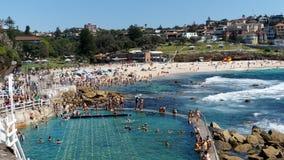 Nageant à la plage de Bronte, Sydney, Australie Photos stock