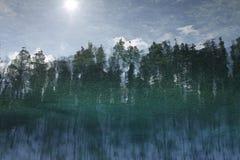 Nagedacht in het water met rimpelingenlandschap, bos, hemel stock foto's