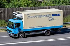 Nagel-Group truck on motorway. Nagel-Group is a German family-owned logistics company, specialized in food logistics, with about 100 branches in 16 countries stock photo