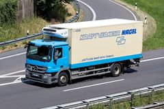 Nagel-Group truck on motorway. Nagel-Group is a German family-owned logistics company, specialized in food logistics, with about 100 branches in 16 countries stock photos