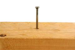 Nagel mit 10 Pennys in einem Stück Holz Stockfoto