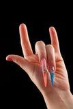 Nagelkunst des Felsens an Hand Stockbild