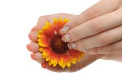 Nagelkunst und -blume Stockfoto