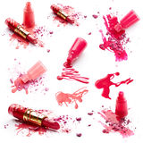 Nagellack, Lippenstift und Lidschatten Lizenzfreie Stockbilder