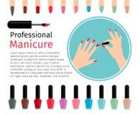 Nagellack und verschiedene Farbnägel Stockbild