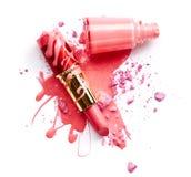 Nagellak, oogschaduw en lippenstift Royalty-vrije Stock Afbeelding