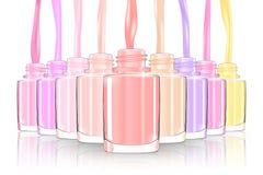 Nagellakfles spijkerfles spash pastelkleur 3d illusration Royalty-vrije Stock Afbeelding
