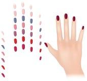 Nagellakinzameling met vrouwelijke hand. Editable stock illustratie