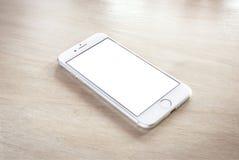 Nagelneues iPhone 7 Silber mit leerem Bildschirm lizenzfreies stockbild