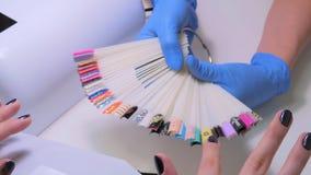 Nageltechniker zeigt die Farbpalette von Nageldienstleistungen im Schönheitssalon Stockfotos