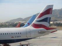 Nageoires caudales d'avions commerciaux Photo libre de droits