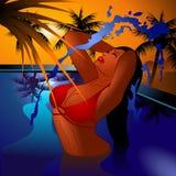 nageur de coucher du soleil Image libre de droits