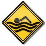 Nageur et natation de bouclier illustration stock