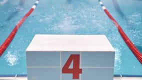 Nageur masculin professionnel de pieds de vue arrière sautant du bloc commençant dans la piscine banque de vidéos