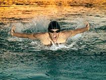 Nageur respirant pendant le papillon de natation photos stock