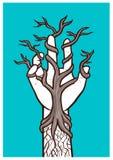Nagi drzewny dorośnięcie wśród ręki †'przeplatać natura i ludzkość royalty ilustracja