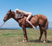 Nagi horsewoman Fotografia Stock