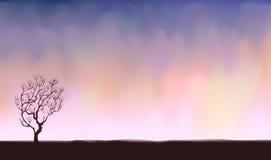 nagi samotny drzewo ilustracja wektor