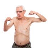 Nagi starszego mężczyzna gestykulować obrazy royalty free