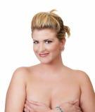 nagie blond piersi zakrywa wielkich kobiet potomstwa Zdjęcia Royalty Free