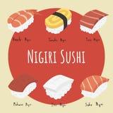 Nagiri sushi set vector illustration
