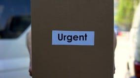 Naglący doręczeniowy kurier w jednolitym mienie kartonie, międzynarodowa wysyłka zdjęcia royalty free