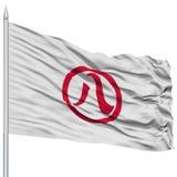 Nagoya Capital City Flag on Flagpole, Flying in the Wind, Isolated on White Background Stock Photography