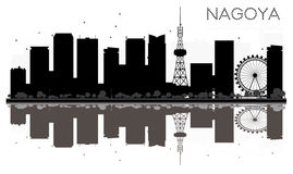 Nagoya City skyline black and white silhouette with reflections. Royalty Free Stock Image