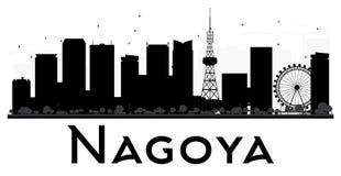 Nagoya City skyline black and white silhouette. Stock Photos