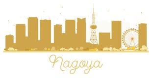 Nagoya City skyline golden silhouette. Royalty Free Stock Images