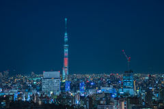 Nagoya cityscape with beautiful sky in night time.  royalty free stock images
