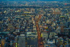 Nagoya cityscape i skymningtid, Japan Arkivbilder