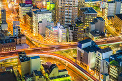 Nagoya cityscape in night time in telephoto zoom view Royalty Free Stock Image