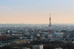 Nagoya cityscape och skyskrapa med himmel i skymningtid Arkivbilder