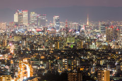 Nagoya cityscape and skyscraper with sky in twilight time Stock Photos