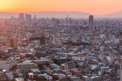 Nagoya cityscape and skyscraper with sky in twilight time Stock Images