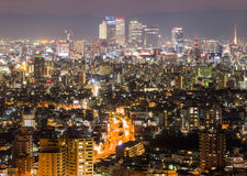 Nagoya cityscape and skyscraper with sky in twilight time Stock Image