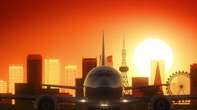 Nagoya Japan Airplane Take Off Skyline Golden Background Stock Images