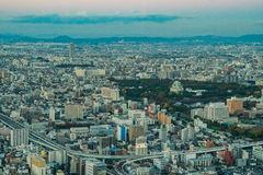 Nagoya, Japan - city in the region of Chubu. Aerial view with sk Stock Photos