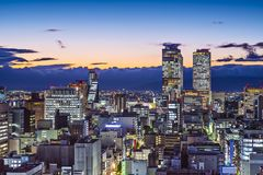 Nagoya, Japan. Cityscape at twilight royalty free stock photography