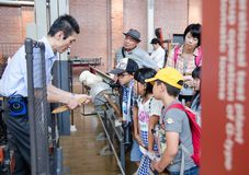 Japanese school children's visits Toyota Commemorative Museum of Industry and Technology. NAGOYA, JAPAN - JULY 3, 2015: Japanese school children's visits Toyota stock photo