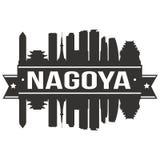 Nagoya Japan om van het de Stadssilhouet van Pictogram Vectorart flat shadow design skyline het Malplaatjeembleem stock illustratie