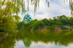 Nagoya kasztelu fosy odbicia liści Ramowy drzewo H Obrazy Royalty Free
