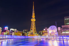 NAGOYA - OCTOBER 25: Sakae District October 25, 2015 in Nagoya,. JP. The district is the commercial center of the city Nagoya TV Tower Royalty Free Stock Images