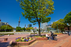 Nagoya Sakae Public Area. Unidentified old men talk in Sakae public area, a very popular park ini Nagoya. Events held around this park every weekend. surrounded Royalty Free Stock Photo