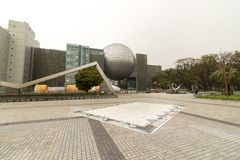 Nagoya Science Museum. S architecture showing the main planetarium and larger building stock photography